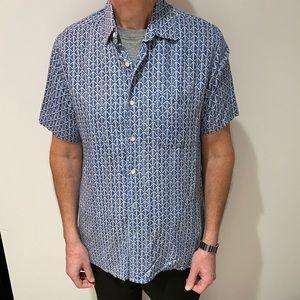 Tasso Elba Blue Hawaiian patterned  Shirt